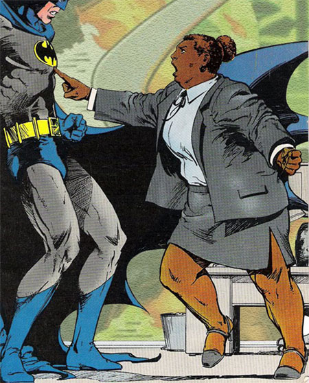 Here she is, telling Batman where he can stuff it. BATMAN. Even Superman is a little bit scared of Batman, but not Amanda Waller.