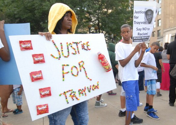 Rally for Trayvon Martin at Grand Circus Park on July 14, 2013, in Detroit - source: huffpo