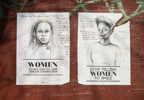 Stop Telling Women To Smile - the anti-street harassment artwork of Tatyana Fazlalizadeh, photo courtesy of NYU News