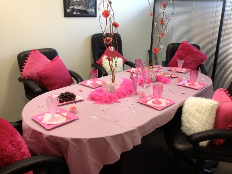 """Your new soft pink boardroom decor, courtesy of soft pink lady board members!"""